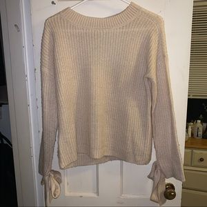 TILLY'S Cream Open Back Tie Sleeve Sweater
